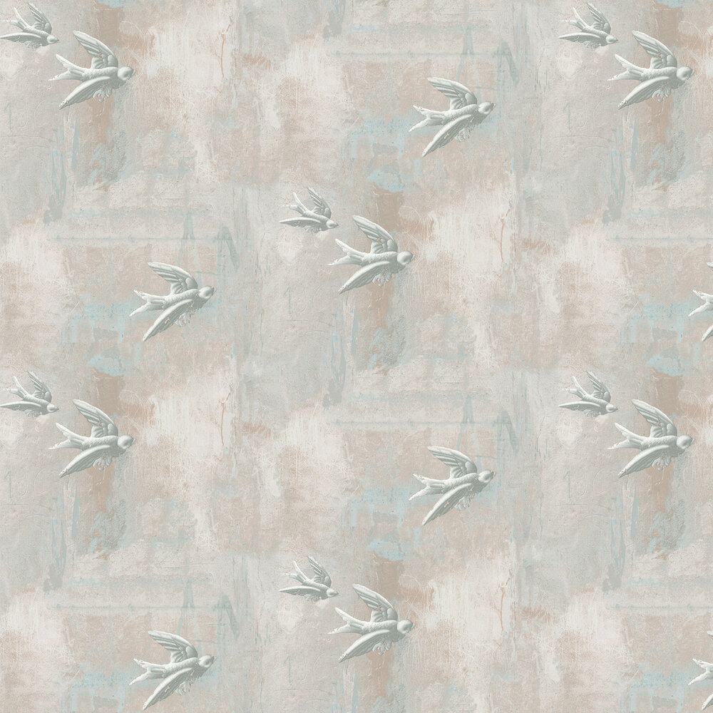 Fresco Birds Natural Wallpaper - Plaster / Grey - by Barneby Gates