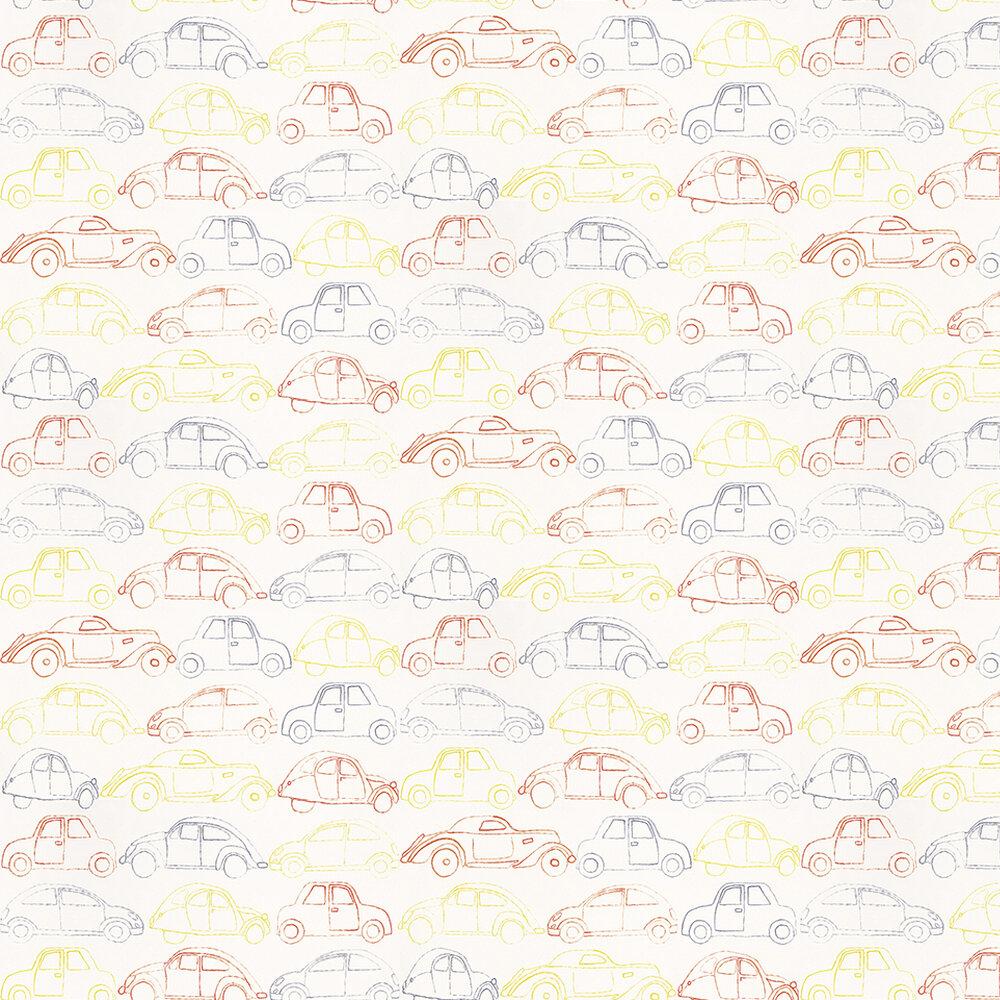Casamance Voitures Orange Orange / Yellow / Grey Wallpaper - Product code: 7283 0243