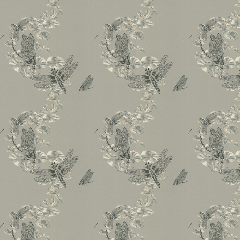 Dragonfly Pewter Wallpaper - by Barneby Gates