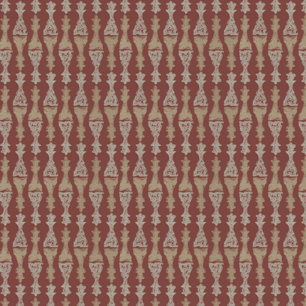 Chess Burgundy Wallpaper - Gold / Burgundy - by Barneby Gates