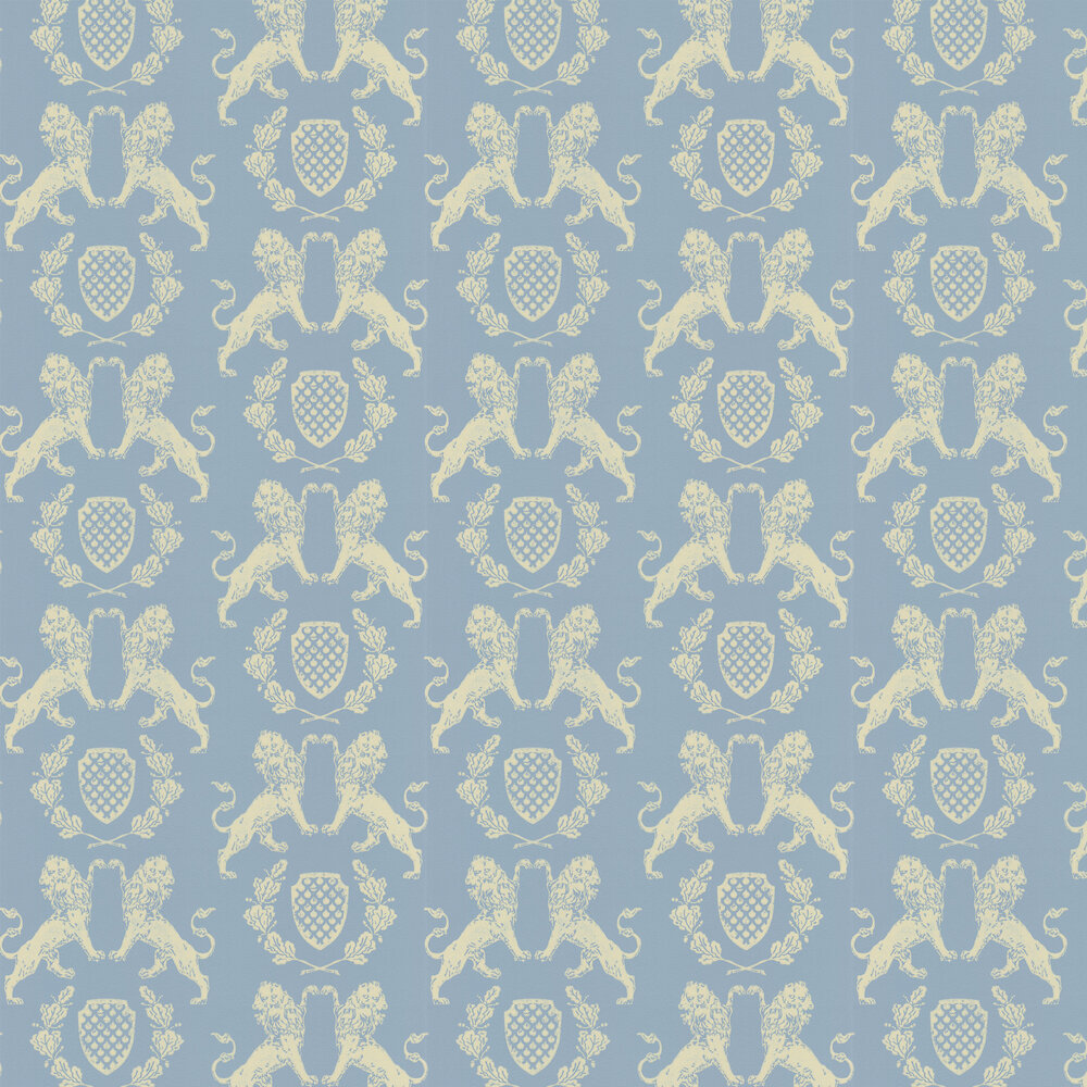 Heraldic Lion Wedgewood Blue  Wallpaper - Wedgwood Blue - by Barneby Gates
