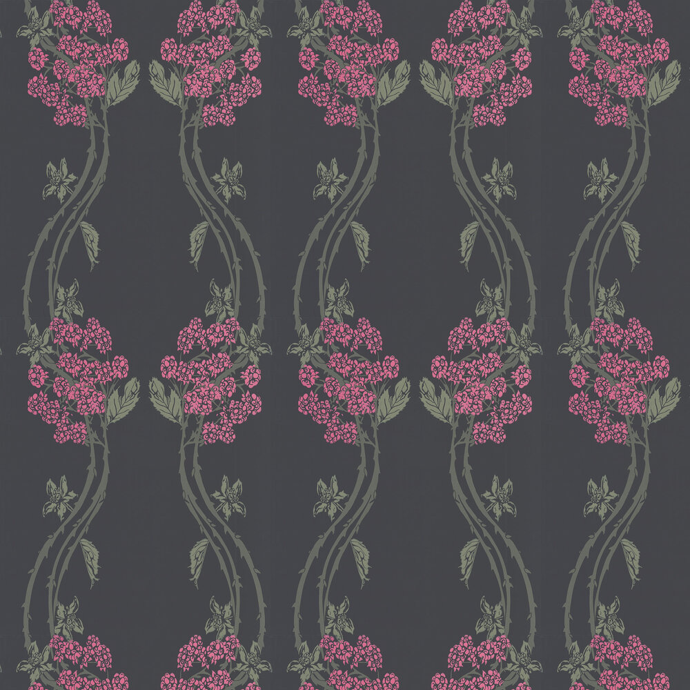 Autumn-Berry Blackberry Wallpaper - Pink / Green / Charcoal - by Barneby Gates