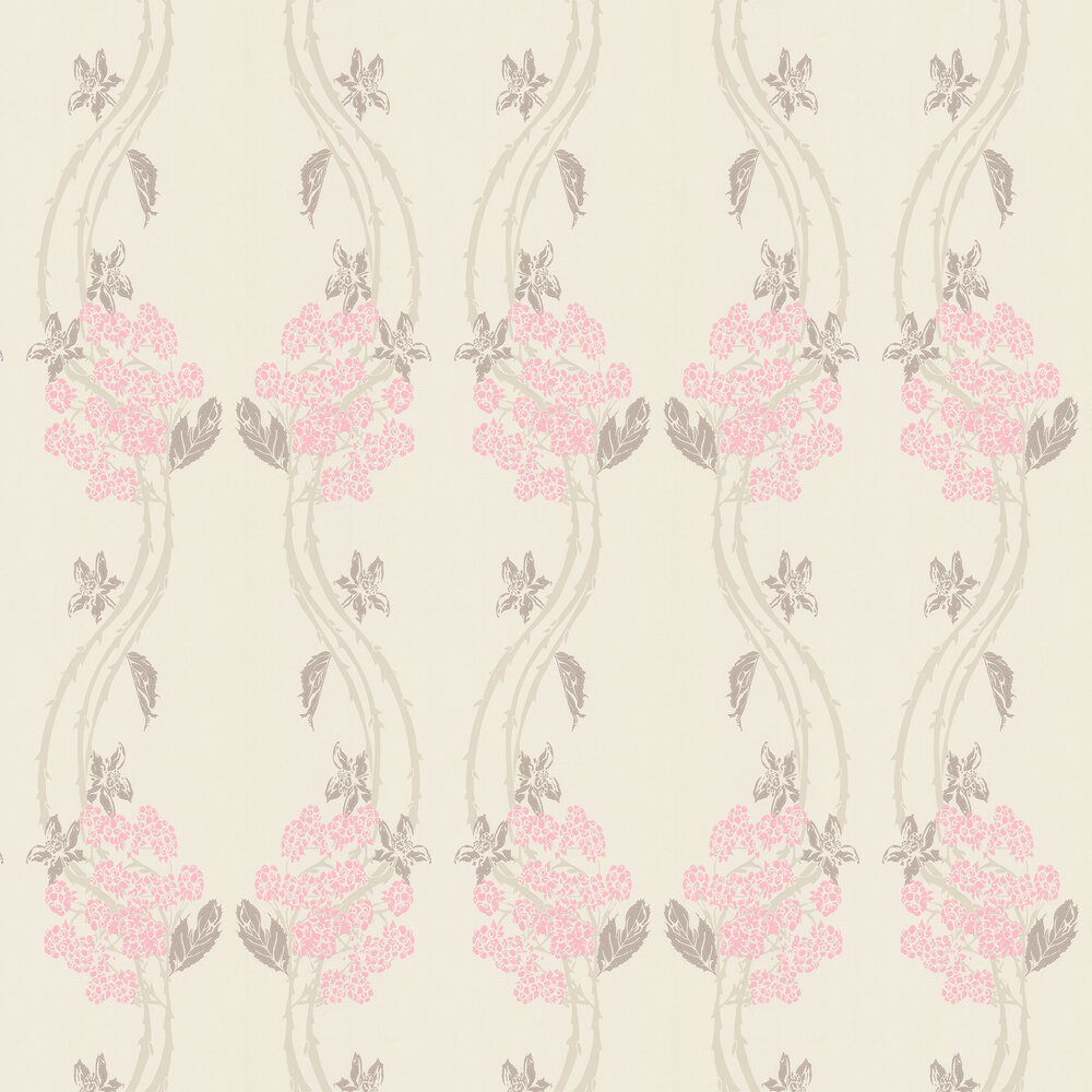 Autumn-Berry Vintage Pink Wallpaper - Pink / Taupe - by Barneby Gates