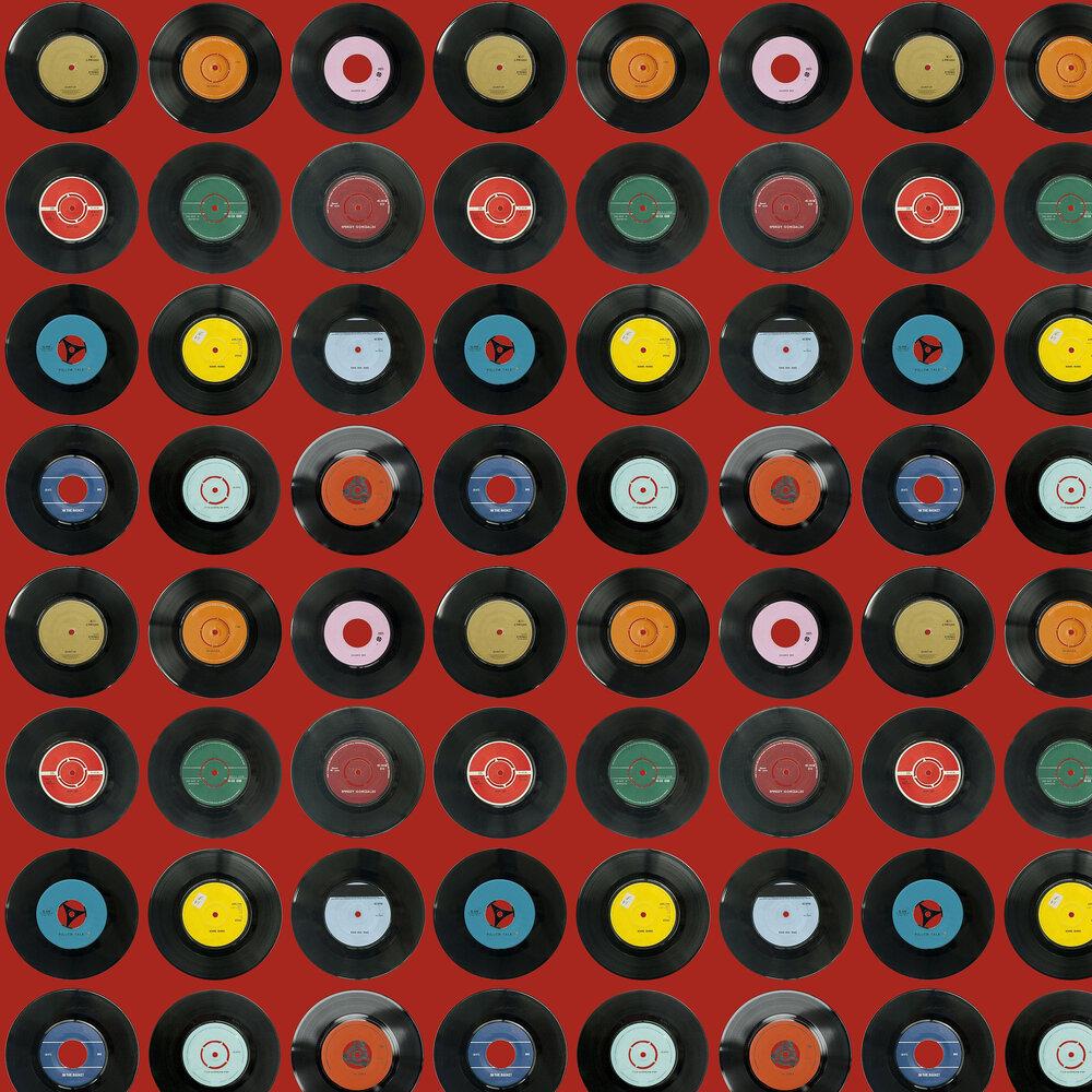 Sevens Red Wallpaper - Multi / Deep Red - by Ella Doran