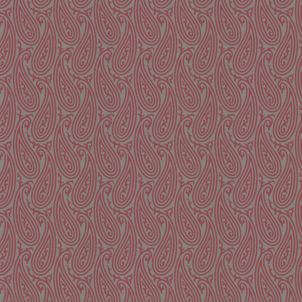 Farrow & Ball Paisley Grey and Berry Red Wallpaper - Product code: BP 4707
