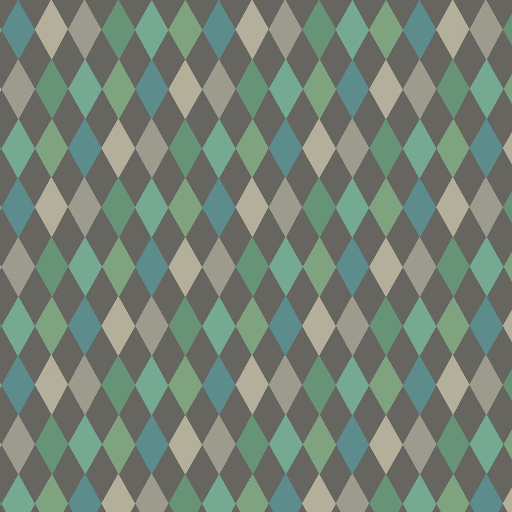 Punchinello Wallpaper - Teal on Charcoal - by Cole & Son