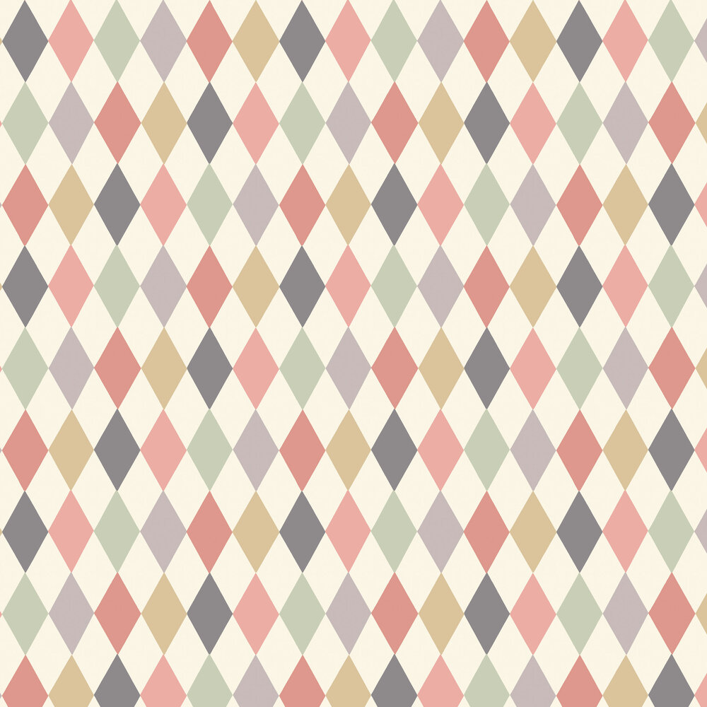 Punchinello Wallpaper - Coral & Green - by Cole & Son