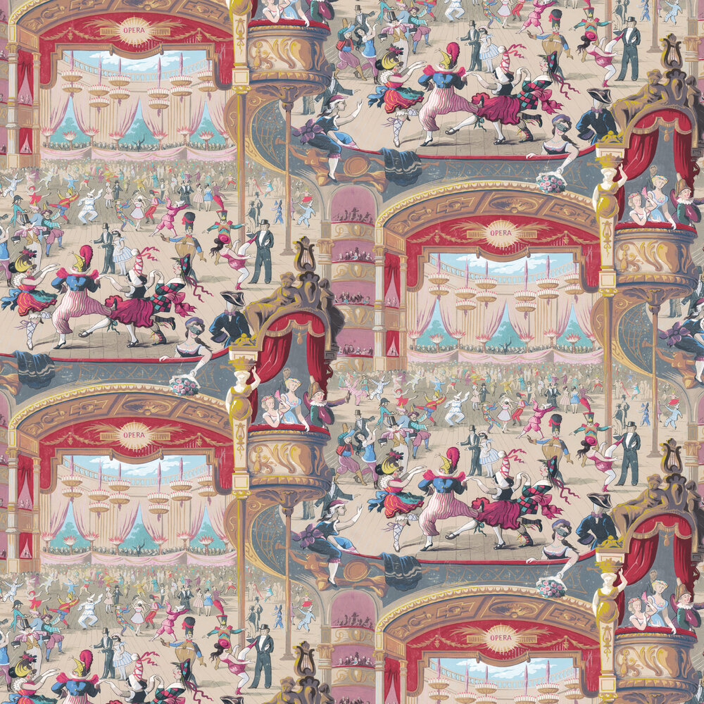 Cabaret Wallpaper - Red & Yellow - by Cole & Son