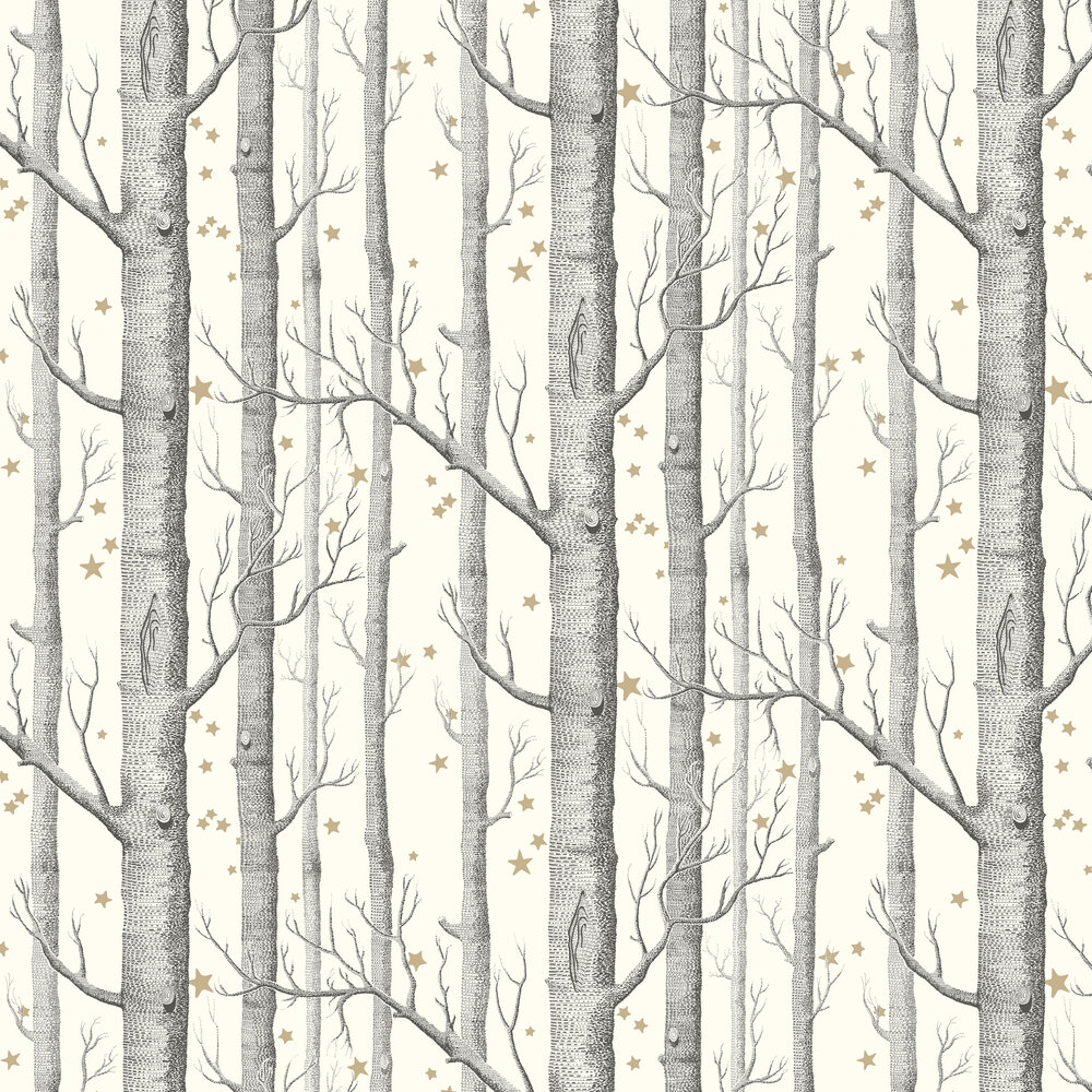 Woods and Stars Wallpaper - Black and White - by Cole & Son