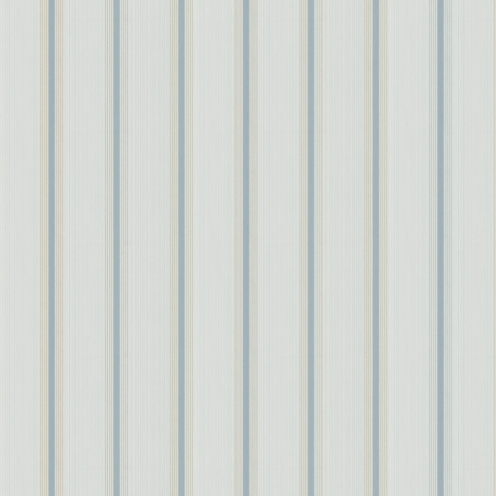 Cavendish Stripe Wallpaper - Brush Blue - by Little Greene