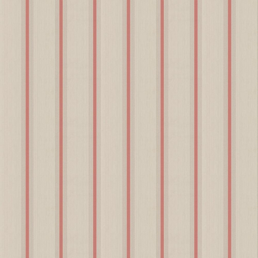 Cavendish Stripe Wallpaper - Brush Red - by Little Greene