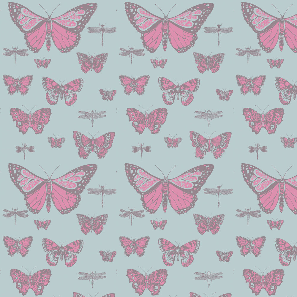 Butterflies and Dragonflies Wallpaper - Pink and Blue - by Cole & Son