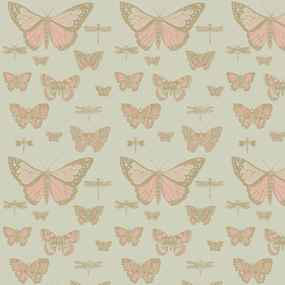 Butterflies and Dragonflies Wallpaper - Pink and Olive - by Cole & Son