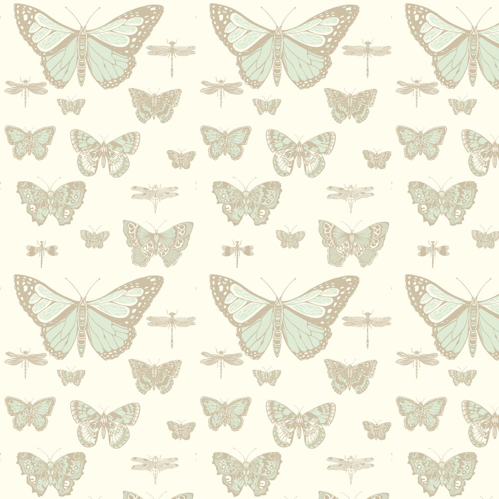 Butterflies and Dragonflies Wallpaper - Duck Egg & Ivory - by Cole & Son