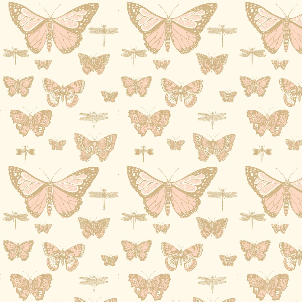 Butterflies and Dragonflies Wallpaper - Pink & Ivory - by Cole & Son