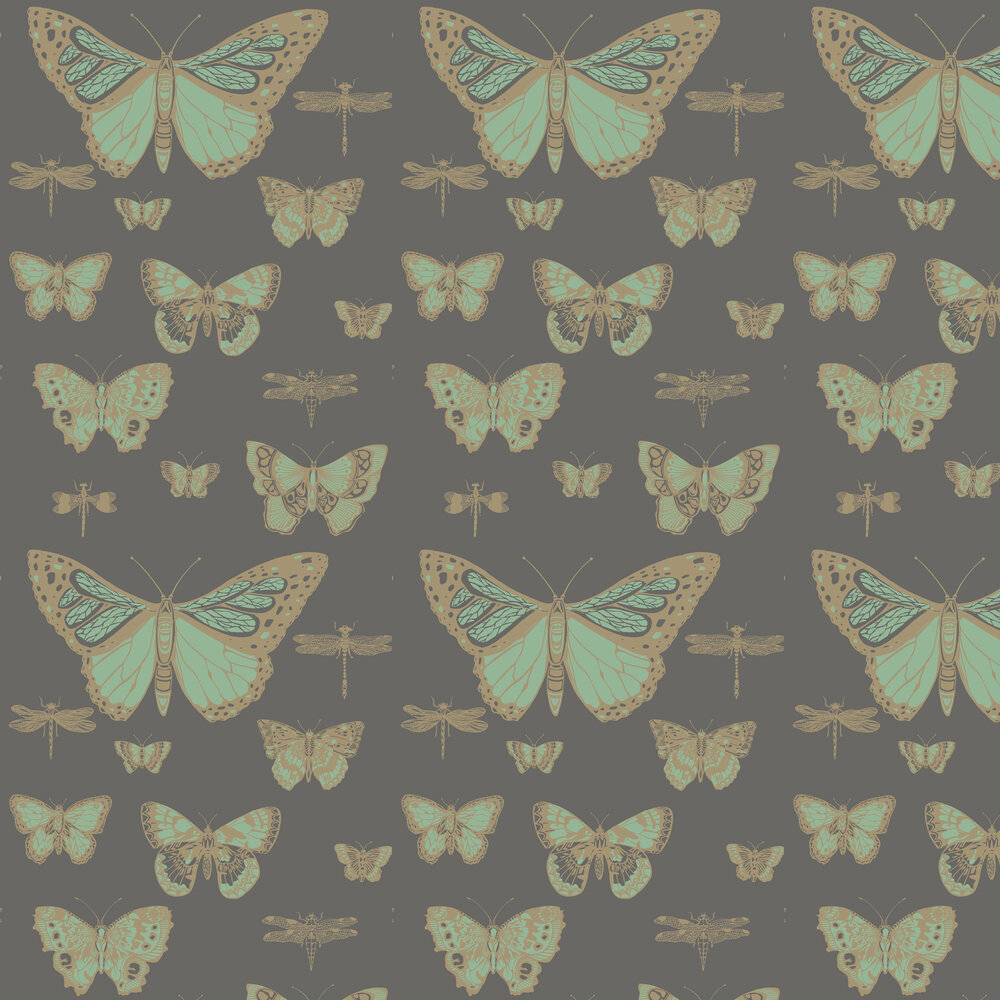 Cole & Son Butterflies and Dragonflies Green & Charcoal Wallpaper - Product code: 103/15067