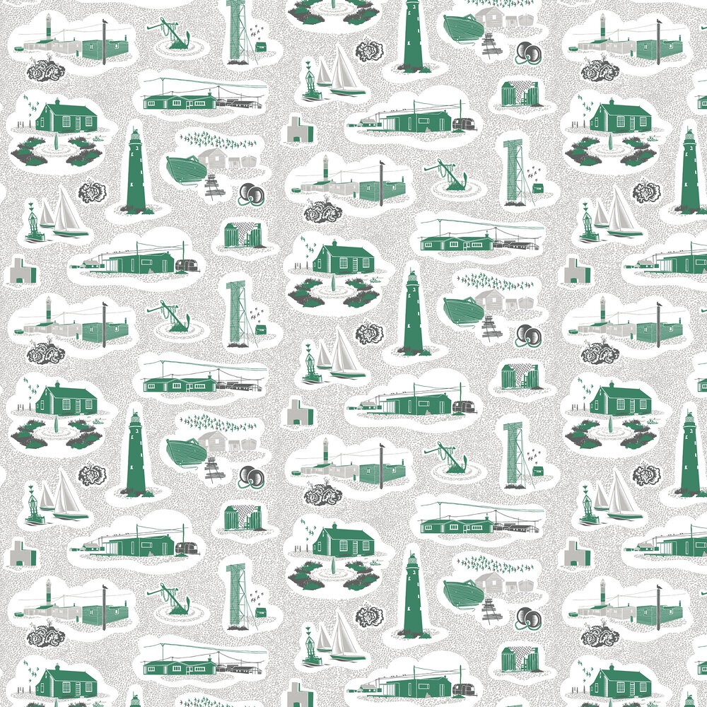Dungeness Wallpaper - Coach Emerald - by Mini Moderns