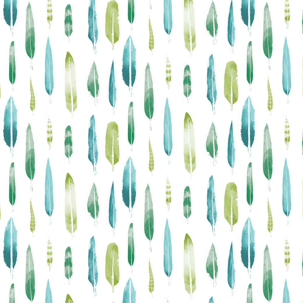 Feathers  Wallpaper - Coach Emerald - by Mini Moderns