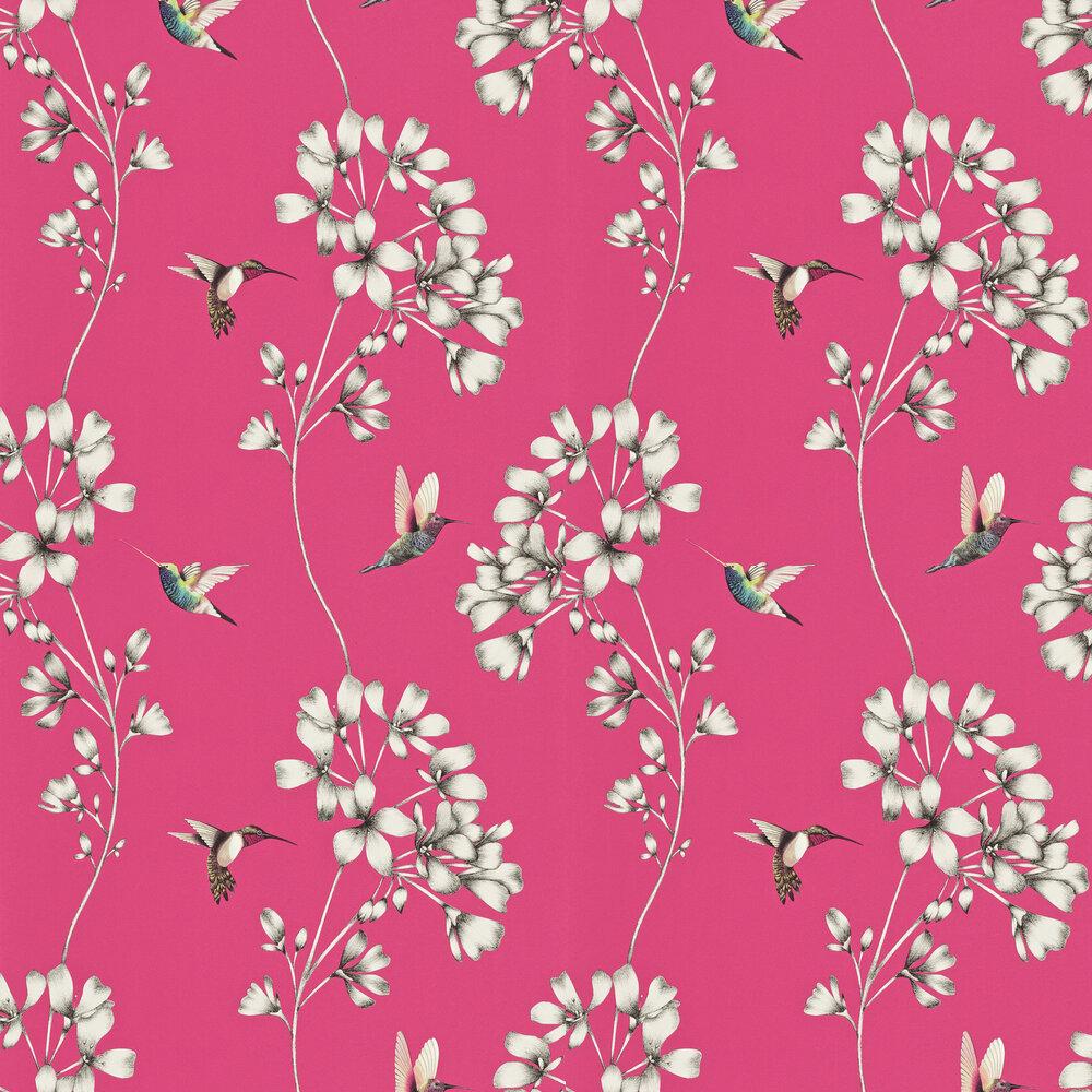 Amazilia Wallpaper - Flamingo - by Harlequin