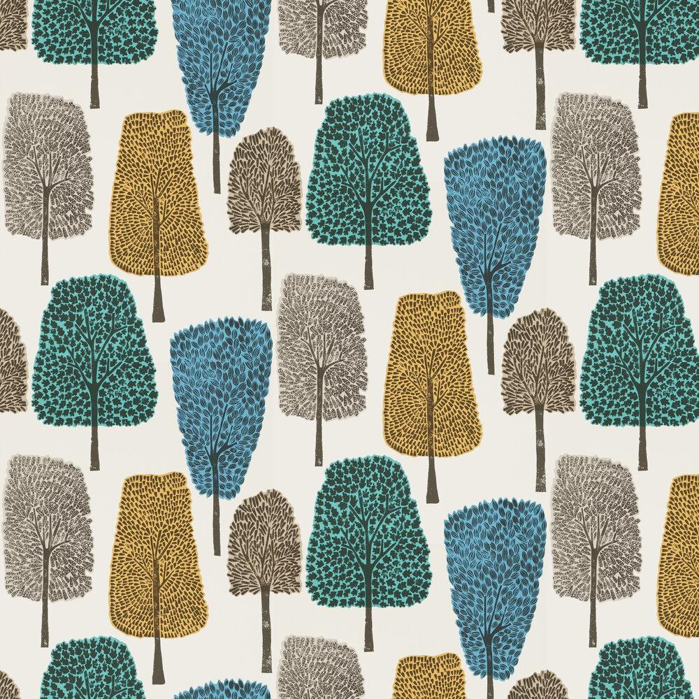 Cedar Wallpaper - Almond, Cobalt and Midnight - by Scion
