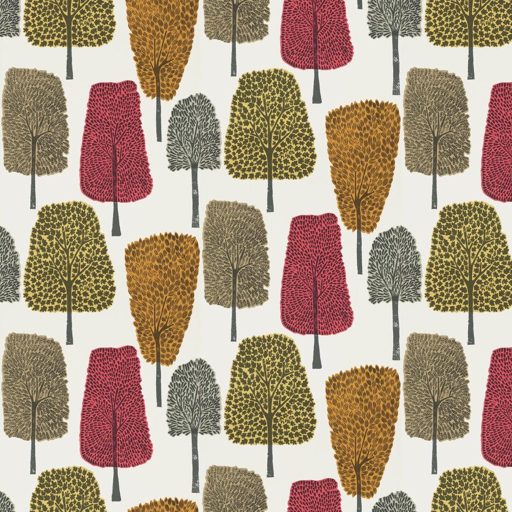 Cedar Wallpaper - Chilli, Tangerine and Sulphur - by Scion