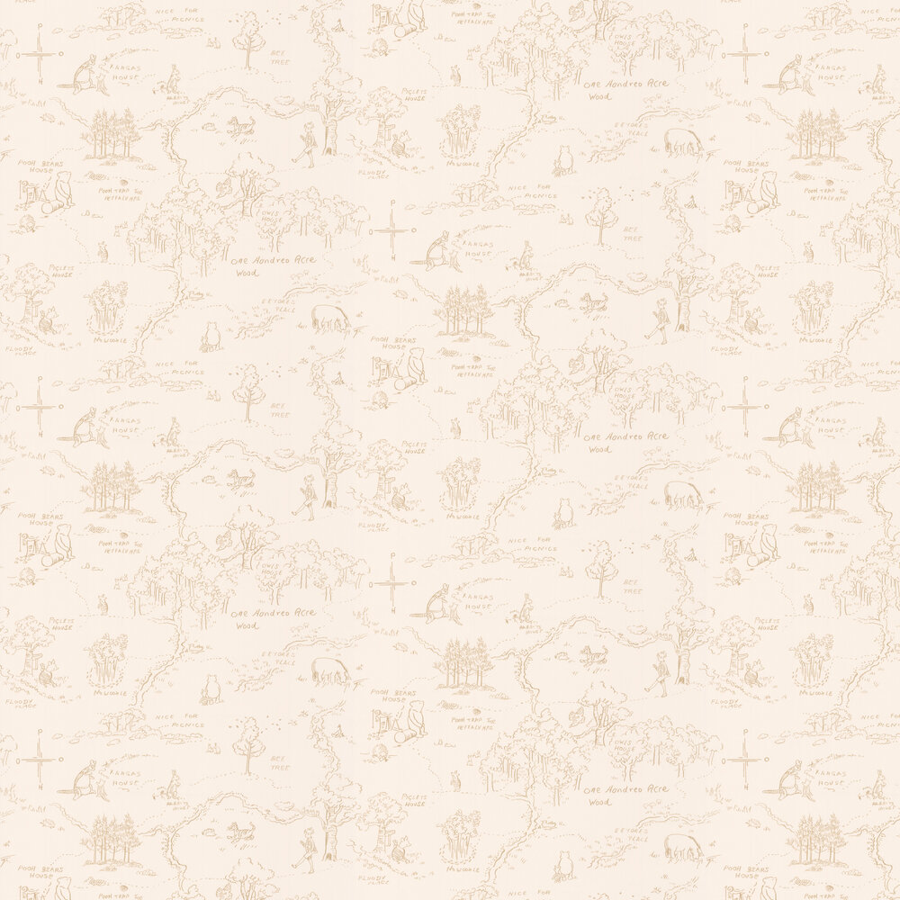 Jane Churchill One Hundred Acre Wood Map Beige Wallpaper - Product code: J129W-02