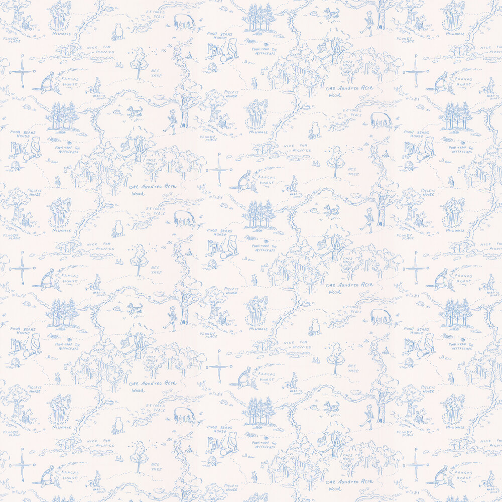 Jane Churchill One Hundred Acre Wood Map Blue Wallpaper - Product code: J129W-03