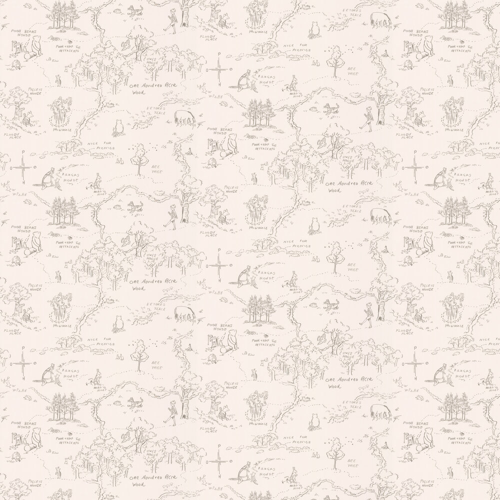 Jane Churchill One Hundred Acre Wood Map Charcoal Wallpaper - Product code: J129W-04