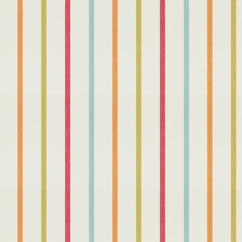 Hoppa Stripe Wallpaper - Poppy, Tangerine and Biscuit - by Scion
