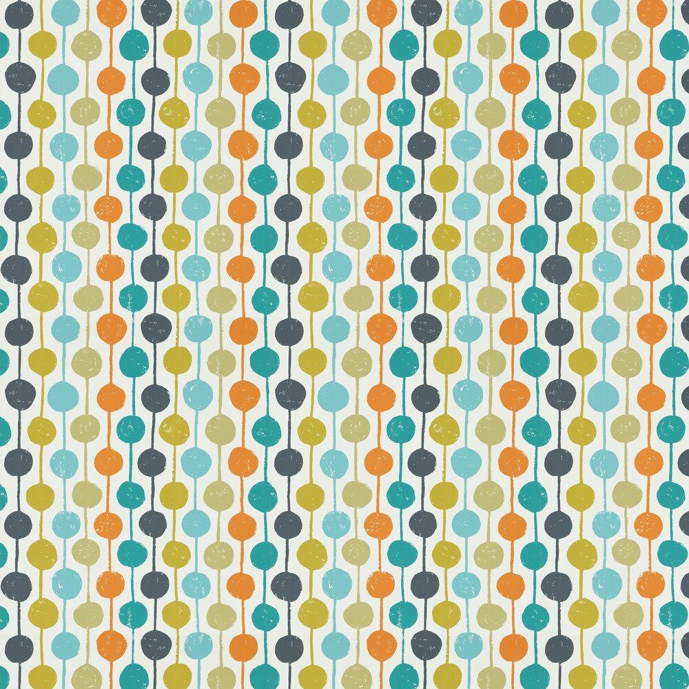 Taimi Wallpaper - Sulphur,Tangerine and Kingfisher - by Scion