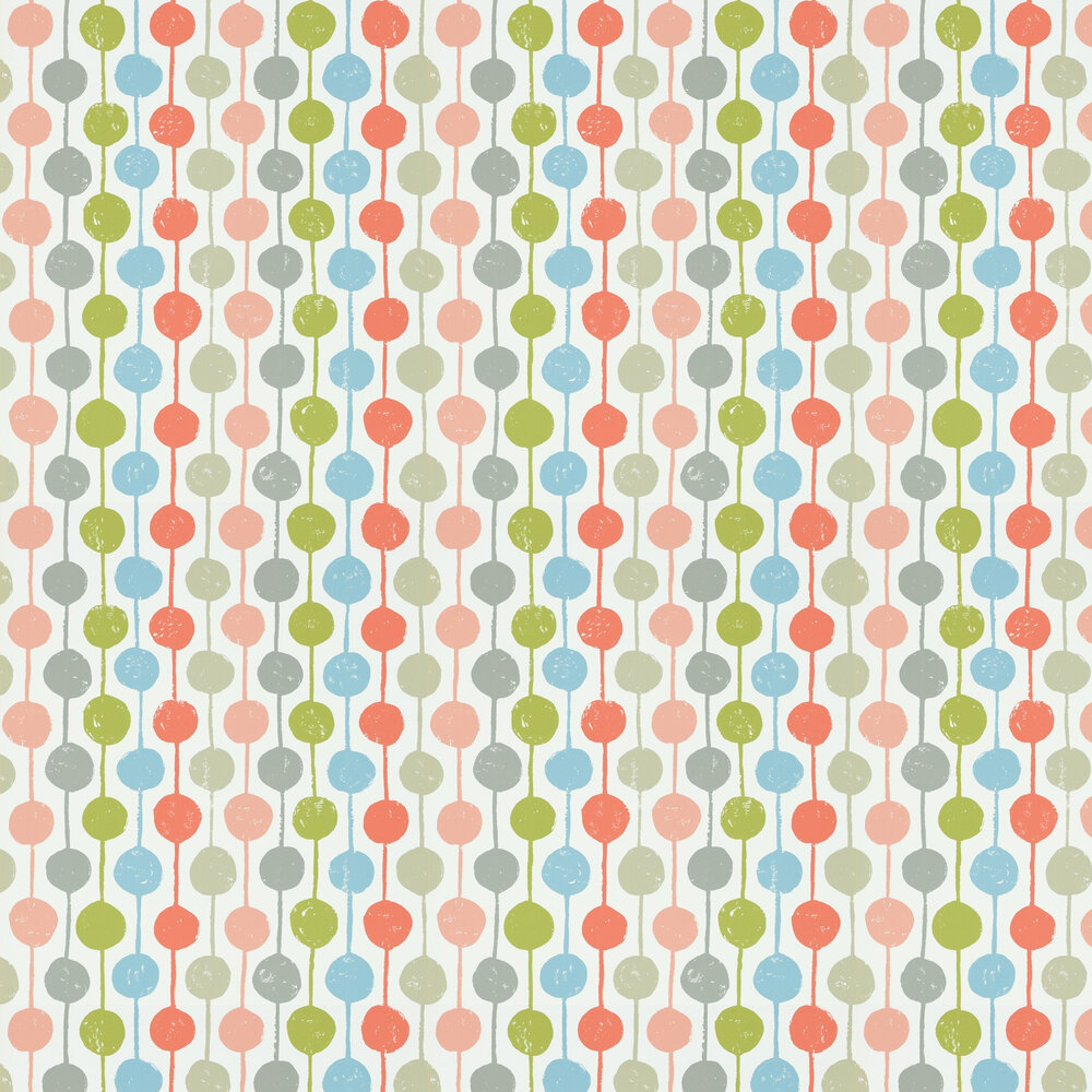 Scion Taimi Poppy, Kiwi and Charcoal Wallpaper - Product code: 111123