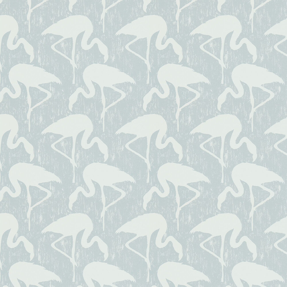 Flamingos Wallpaper - Dove / Chalk - by Sanderson