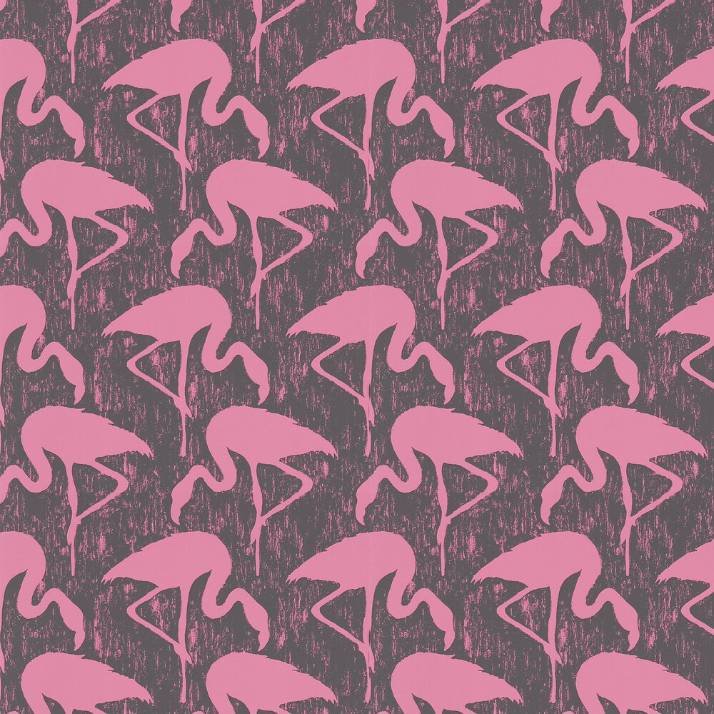 Sanderson Flamingos Charcoal / Pink Wallpaper - Product code: 214567