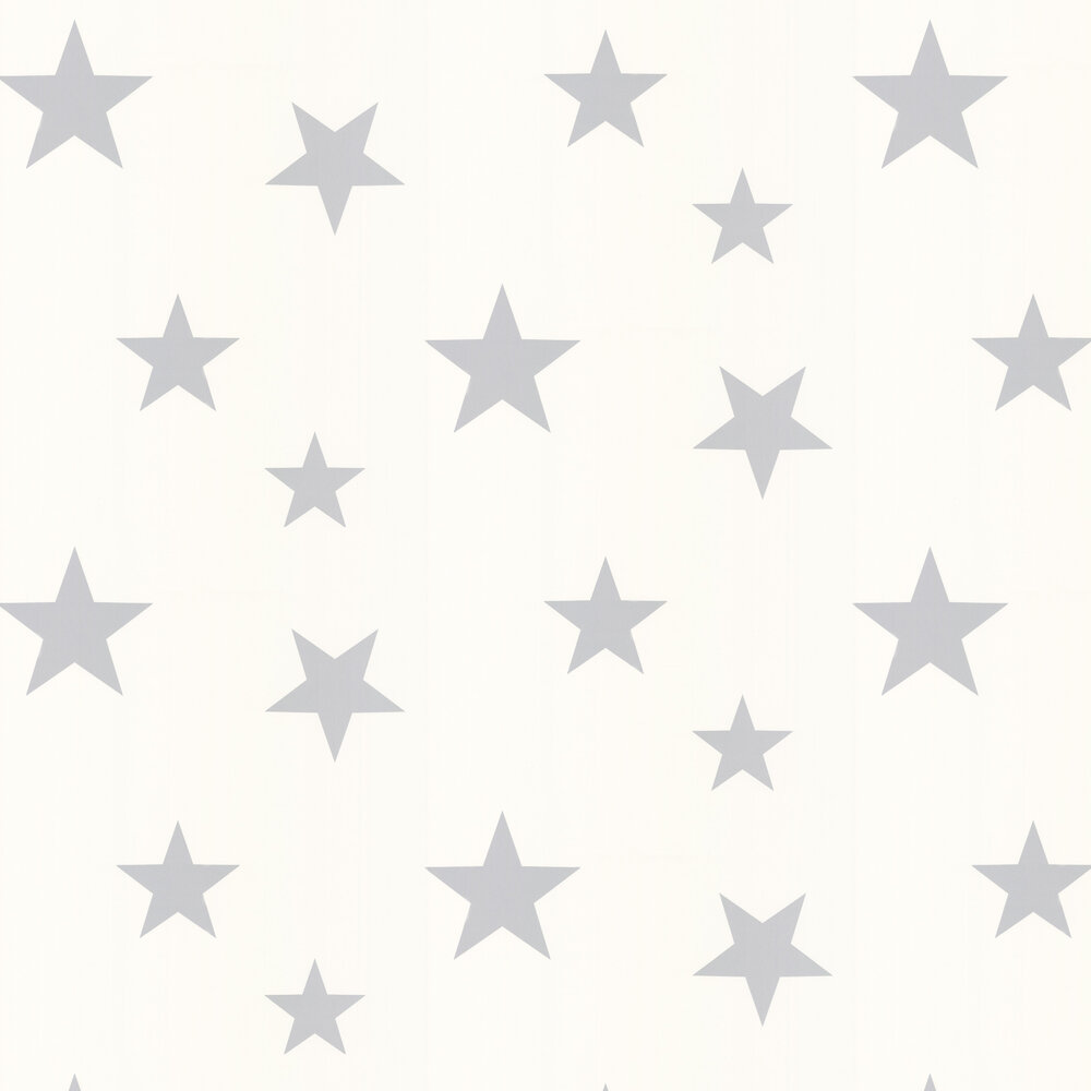 Hibou Home Stars Silver / White Wallpaper - Product code: HH00802