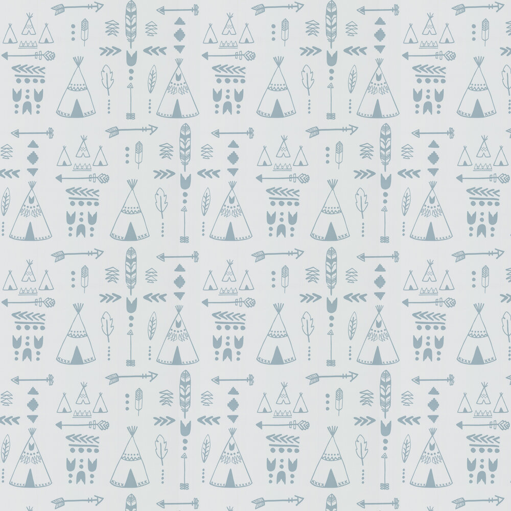 Teepees Wallpaper - Storm Green / Grey - by Hibou Home