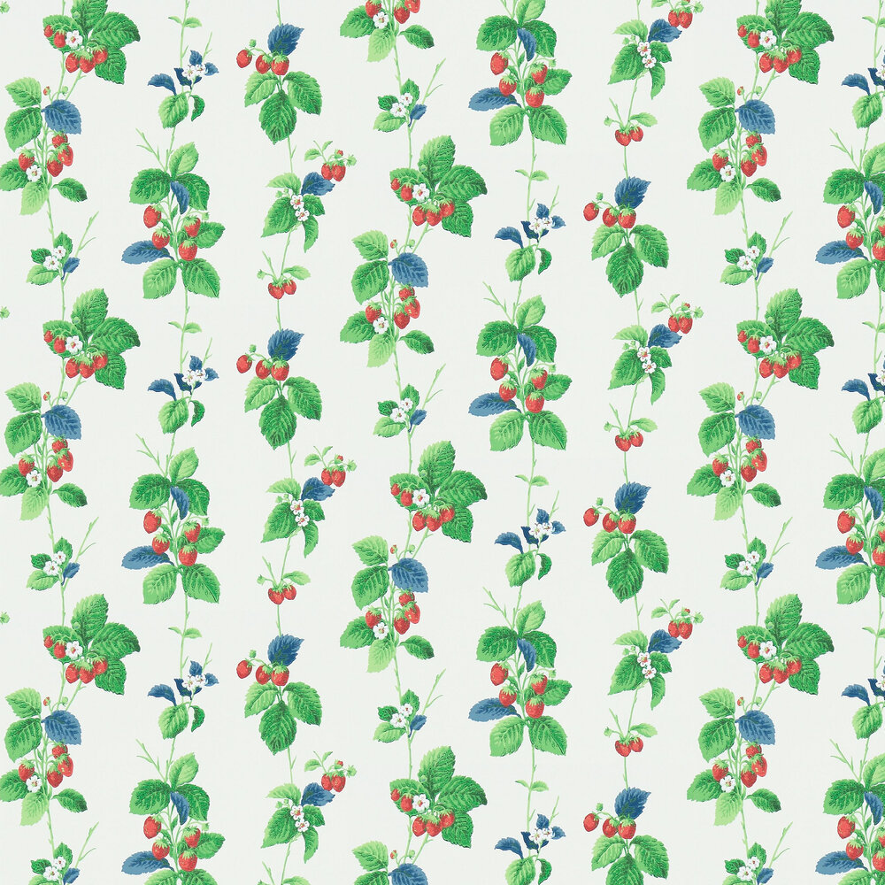 Summer Strawberries Wallpaper - Strawberry / Leaf - by Sanderson