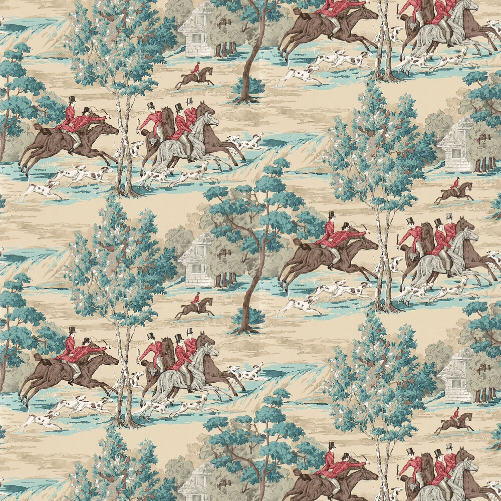 Tally Ho Wallpaper - Teal / Ruby - by Sanderson