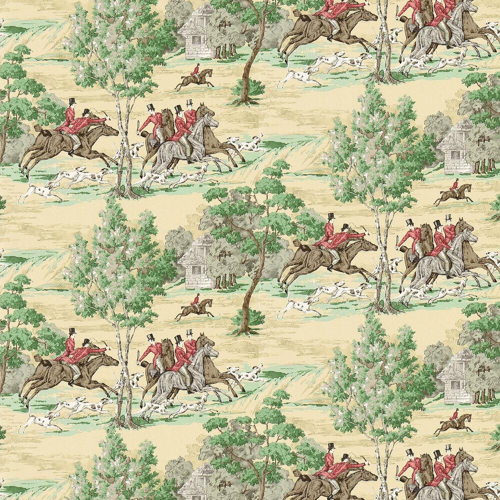 Tally Ho Wallpaper - Evergreen / Crimson - by Sanderson