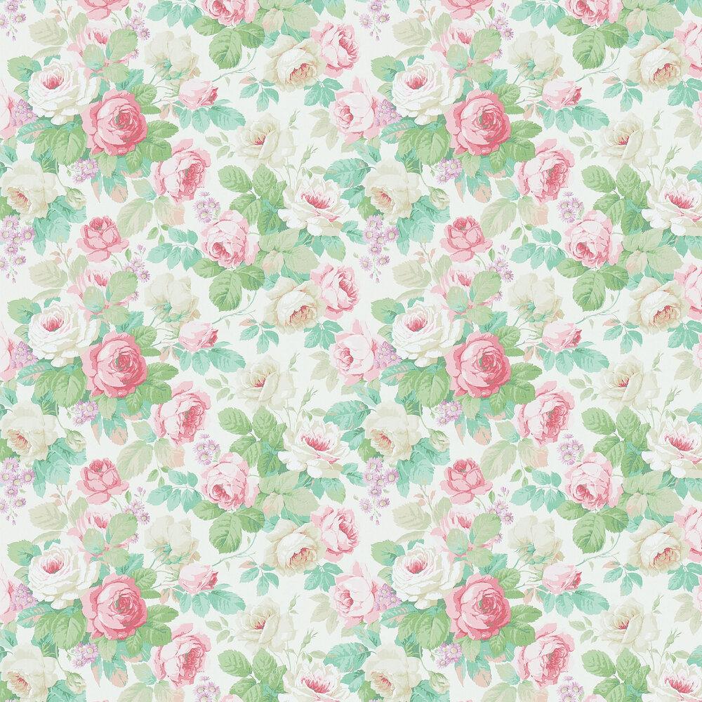 Chelsea Wallpaper - Pink / Celadon - by Sanderson