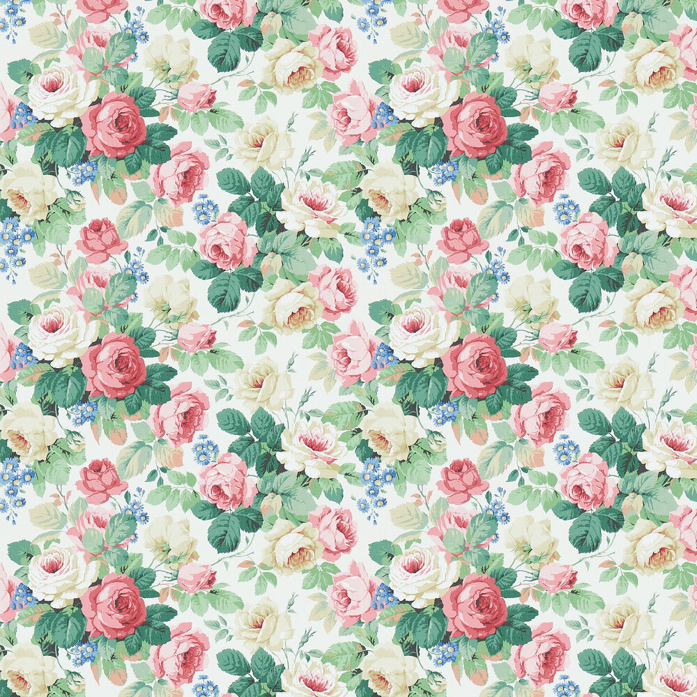 Sanderson Chelsea White / Pink Wallpaper - Product code: 214606