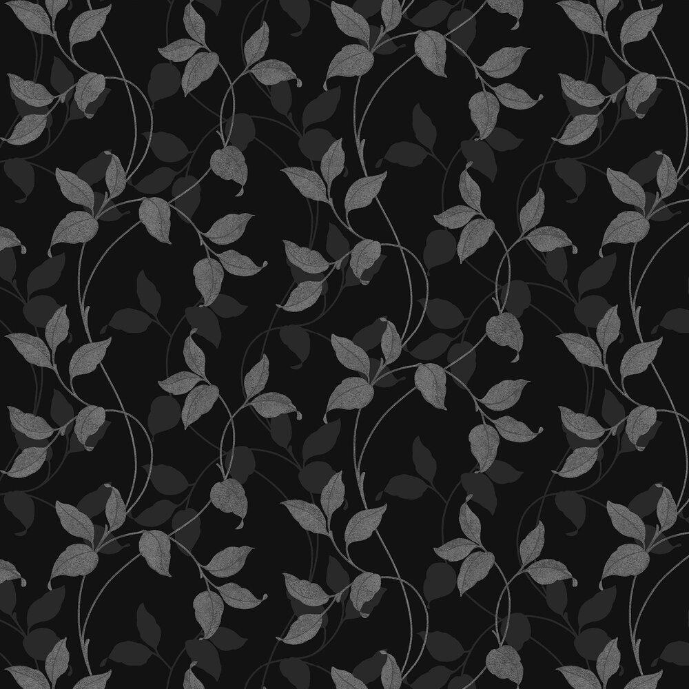 Arthouse Vintage Capriata Black And Silver Shimmer Leaf Wallpaper 290300