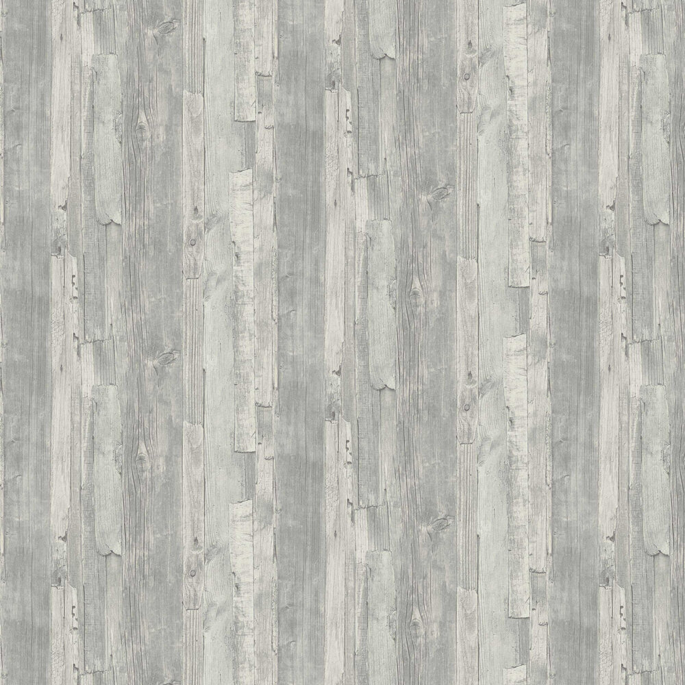 Distressed Wood Wallpaper - Grey - by Albany