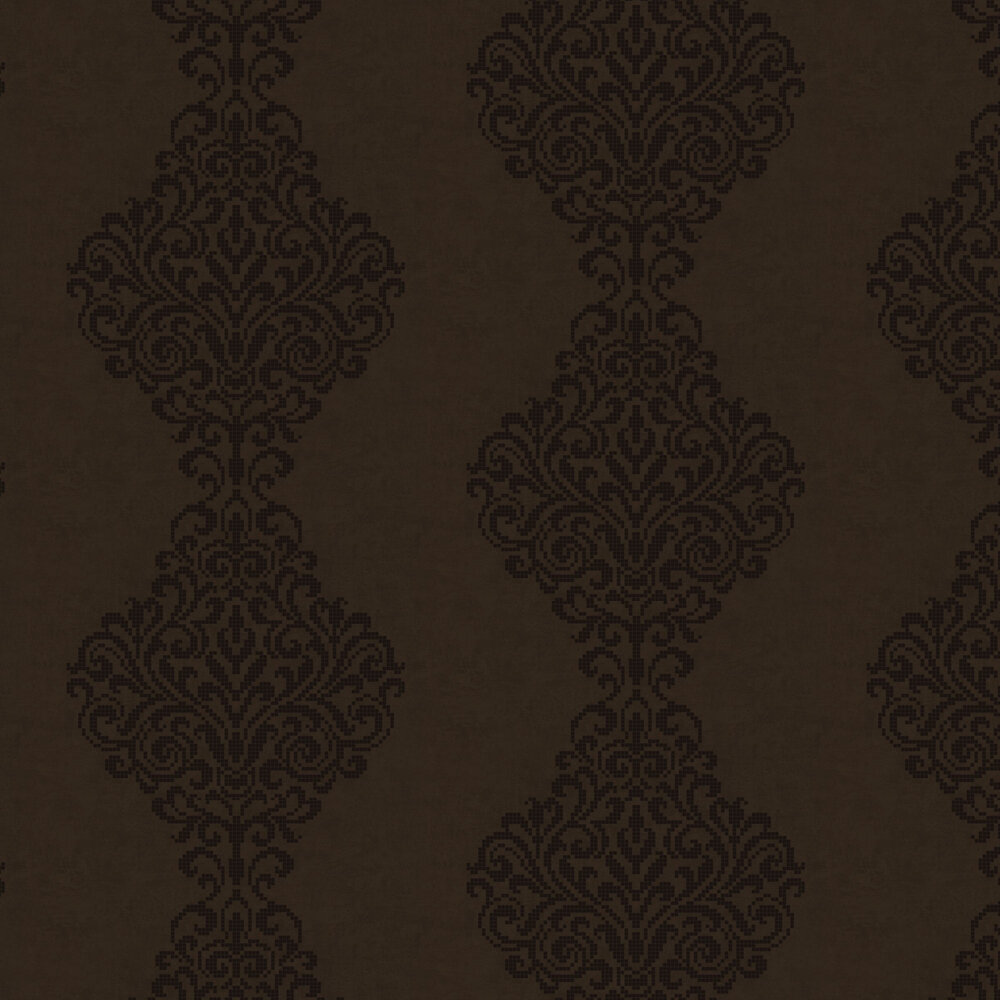 Albany Holographic Damask Motif Chocolate Brown Wallpaper - Product code: 20748