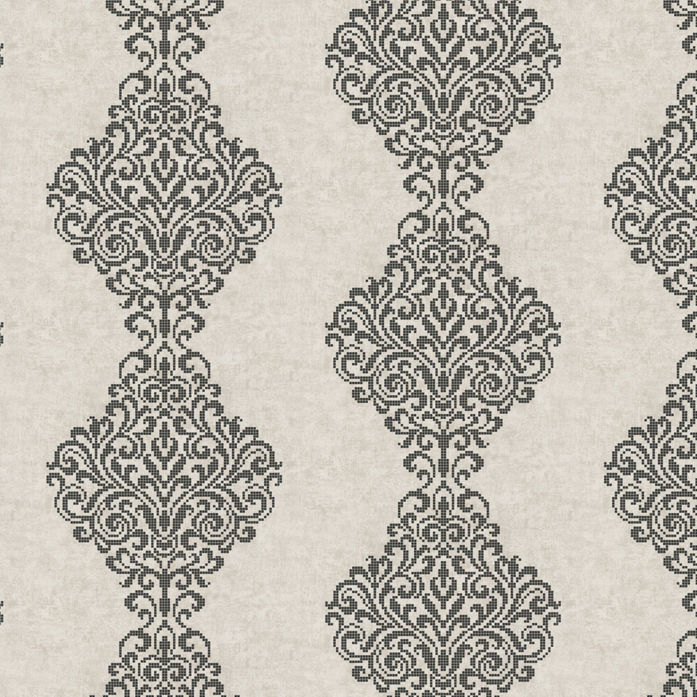 Albany Holographic Damask Motif Stone Wallpaper - Product code: 20749