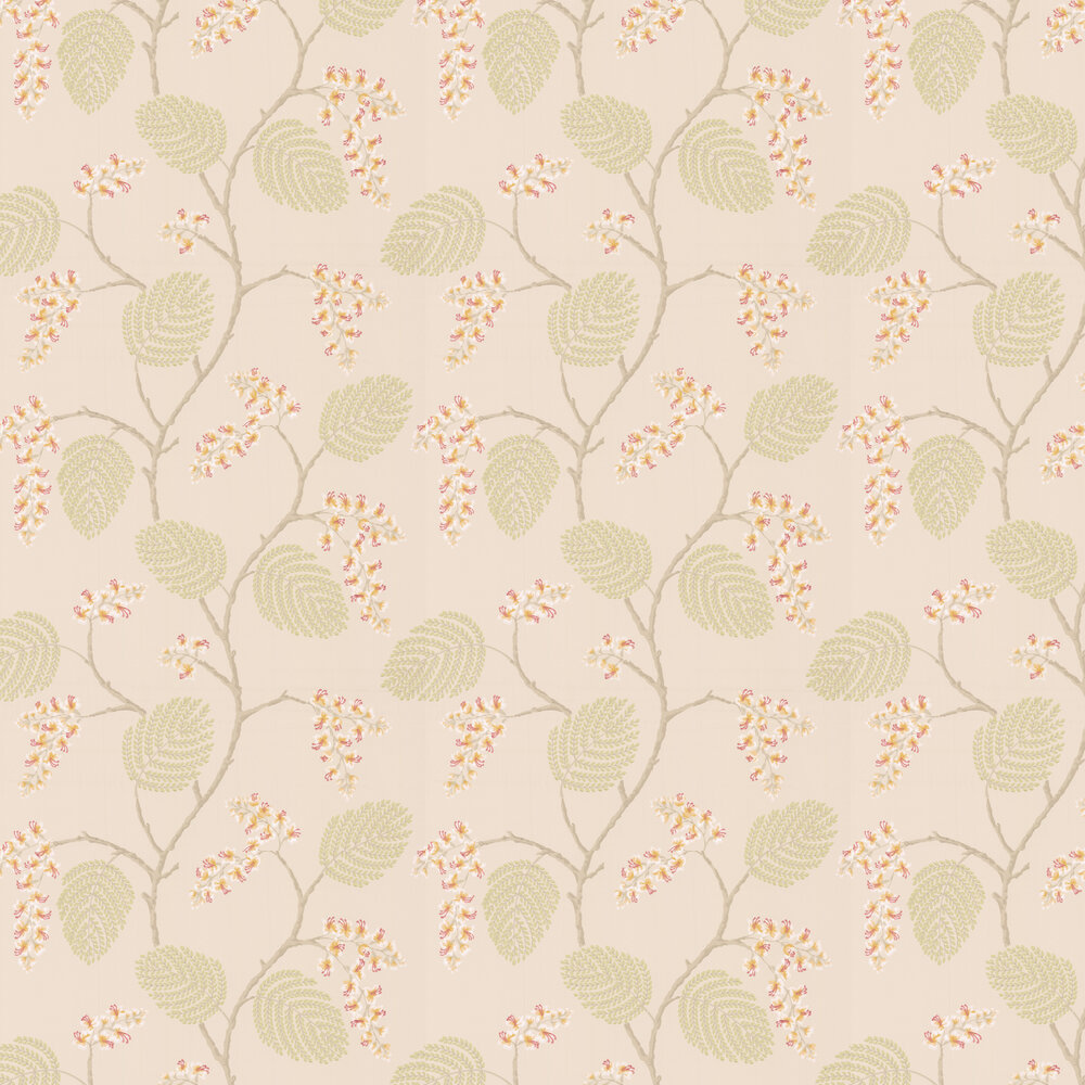 Atwood Wallpaper - Coral / Green - by Colefax and Fowler