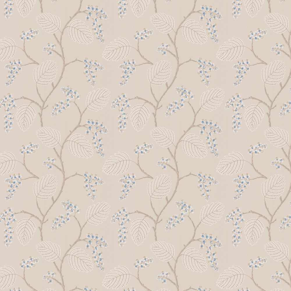 Atwood Wallpaper - Blue / Beige - by Colefax and Fowler