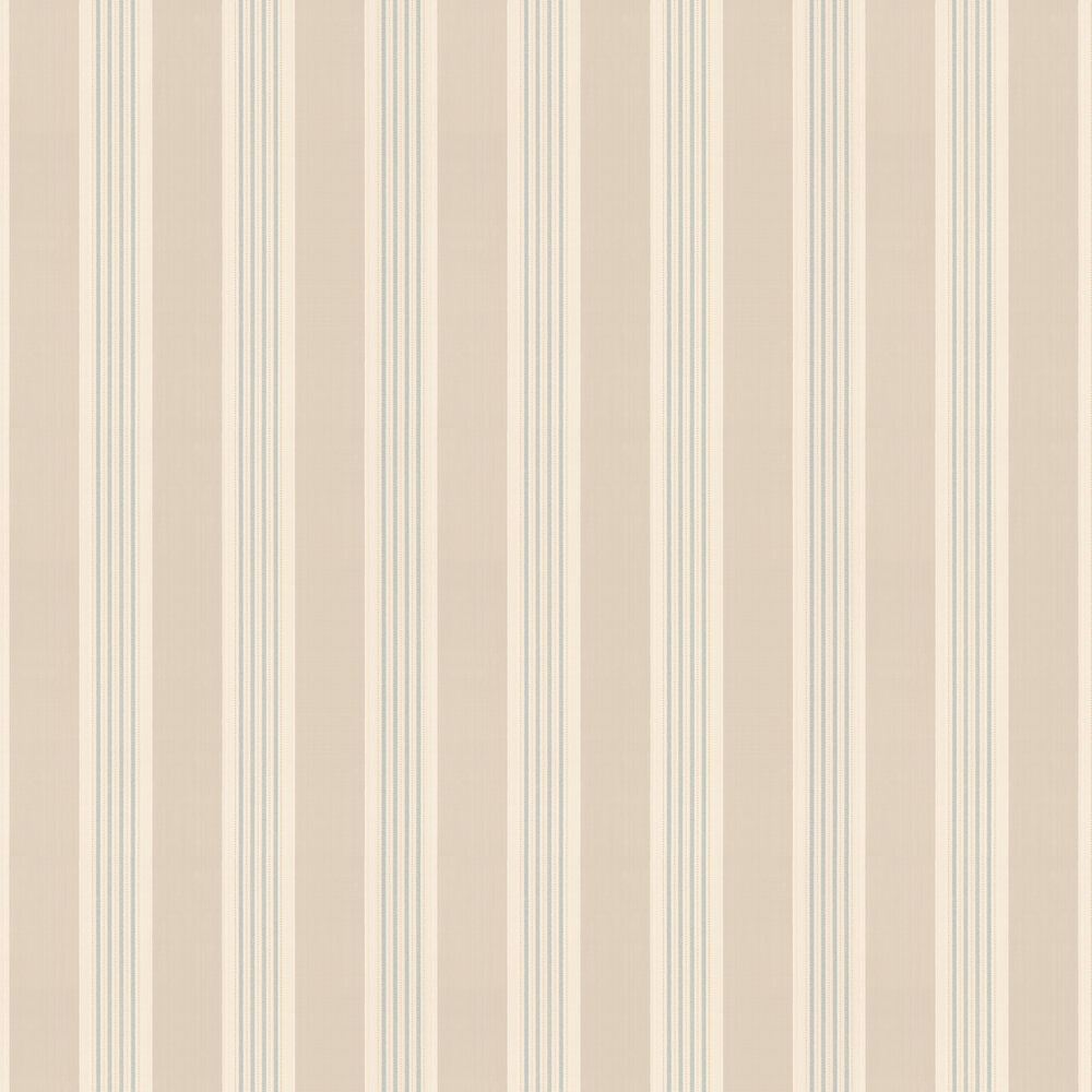 Tealby Stripe Wallpaper - Beige / Blue - by Colefax and Fowler