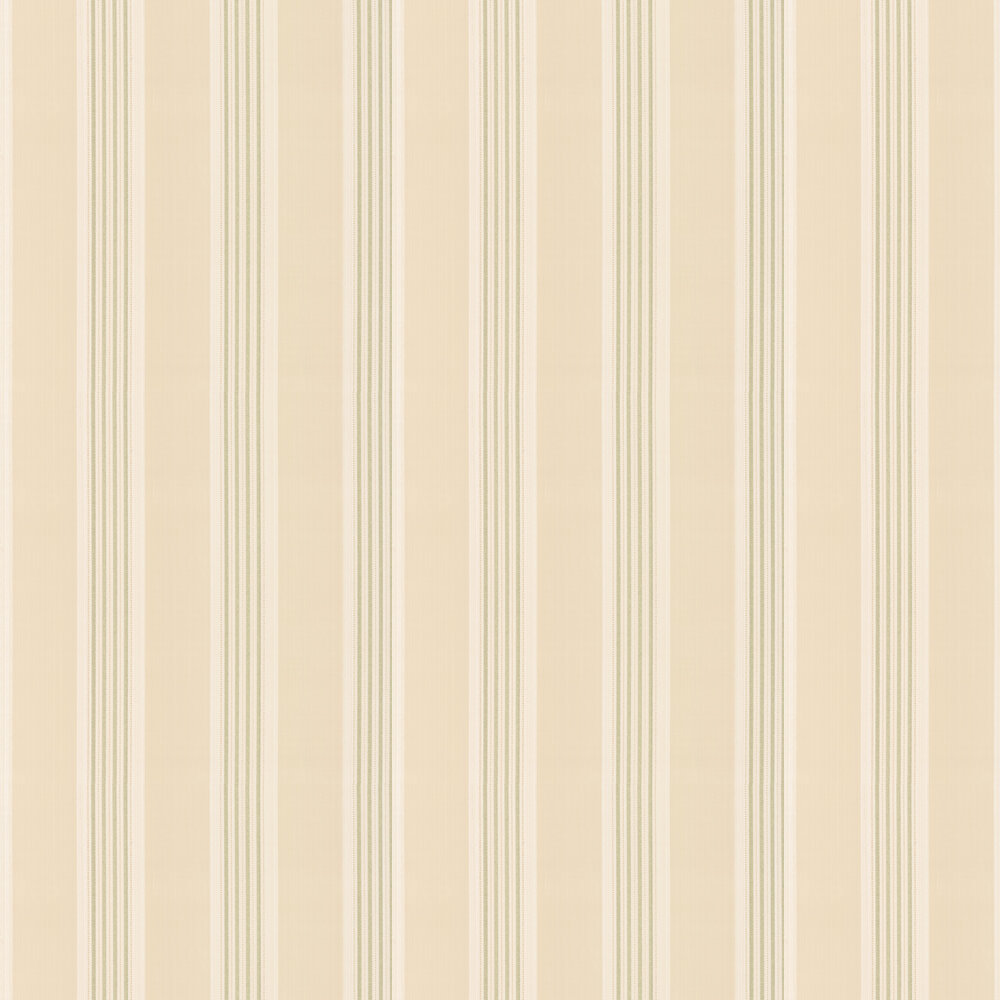 Tealby Stripe Wallpaper - Beige / Green - by Colefax and Fowler