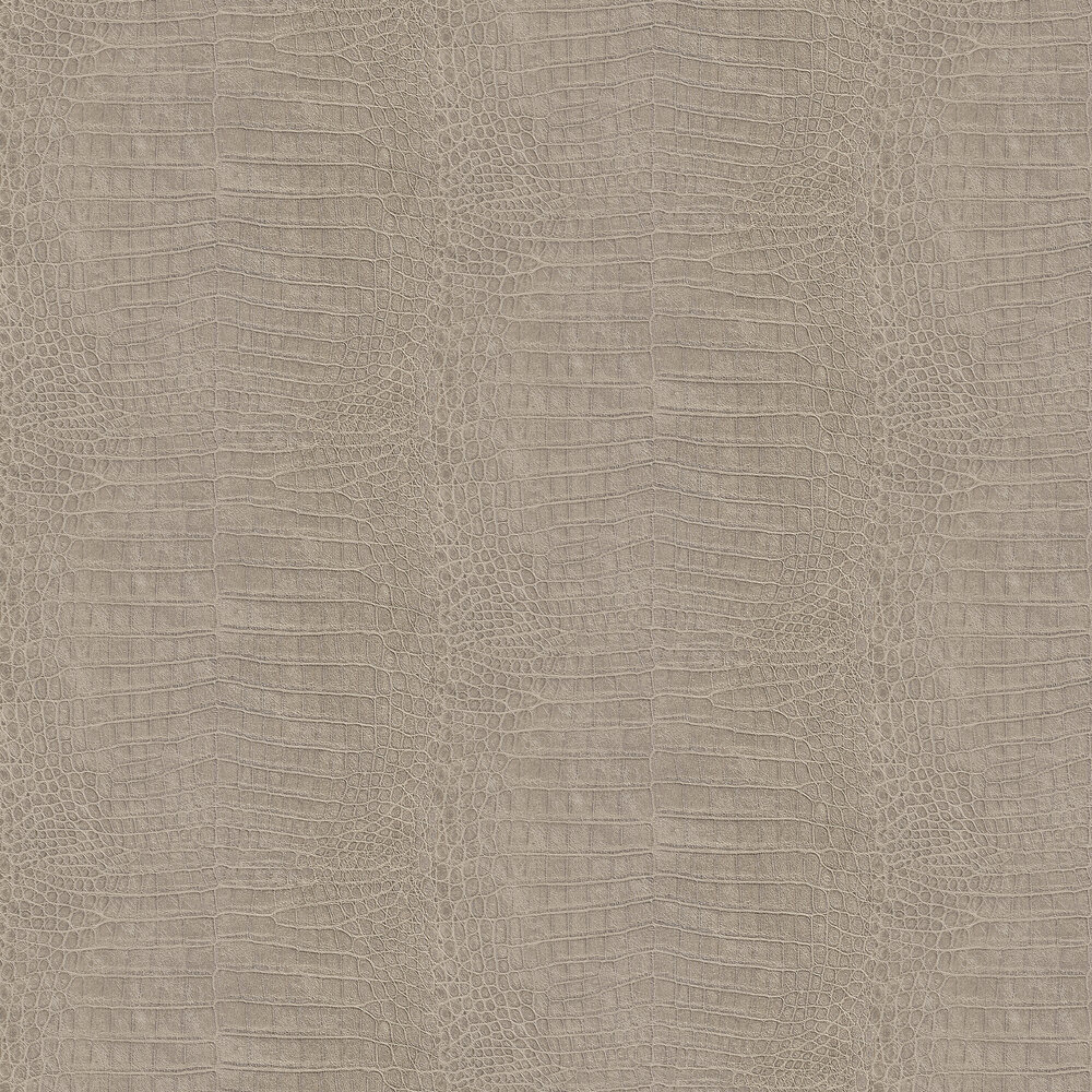 Crocodile Pattern Wallpaper - Taupe - by Albany