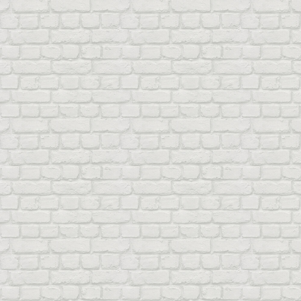 Metallic Brick Wallpaper - White - by Albany